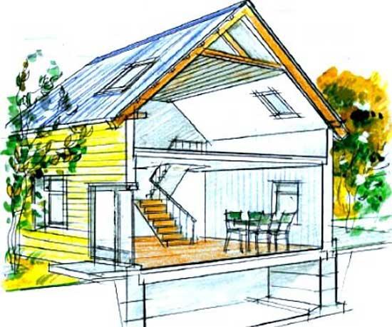 Пристрій мансардного даху дерев'яного будинку
