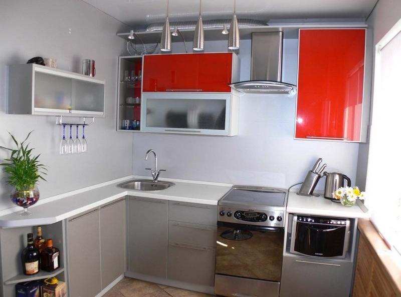 дизайн маленькой угловой кухни фото 5 кв.м