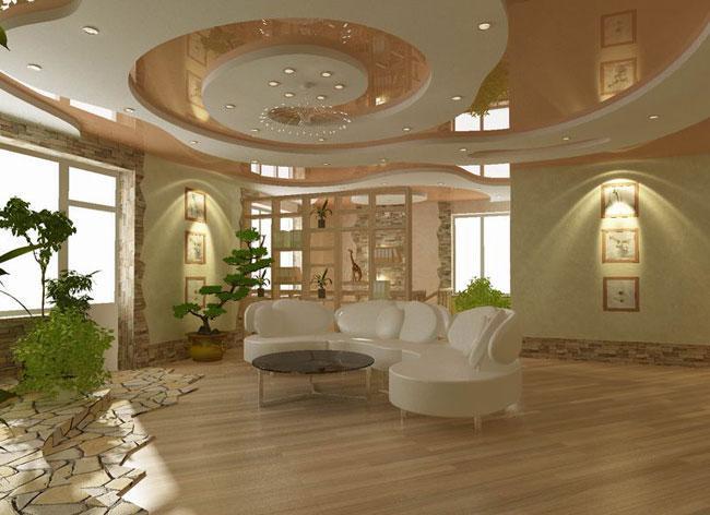 Стеля з гіпсокартону в зал: перетворюємо кімнату