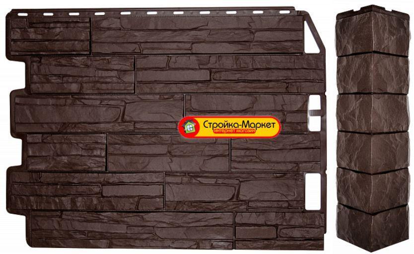 Фасадная панель Дачный Скол - FineBer - темно-коричневый
