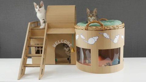 49200 Будиночок для кішки з картонної коробки своїми руками