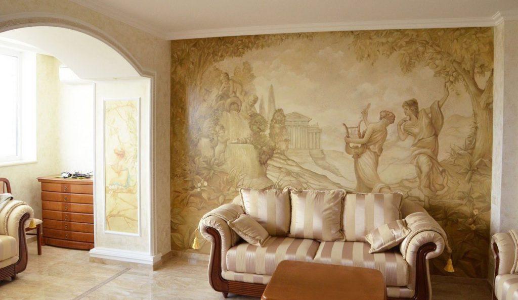 Фрески на стенах: материалы, особенности поклейки
