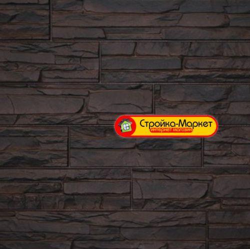 Фасадная панель Дачный Скол — 3D темно-коричневый
