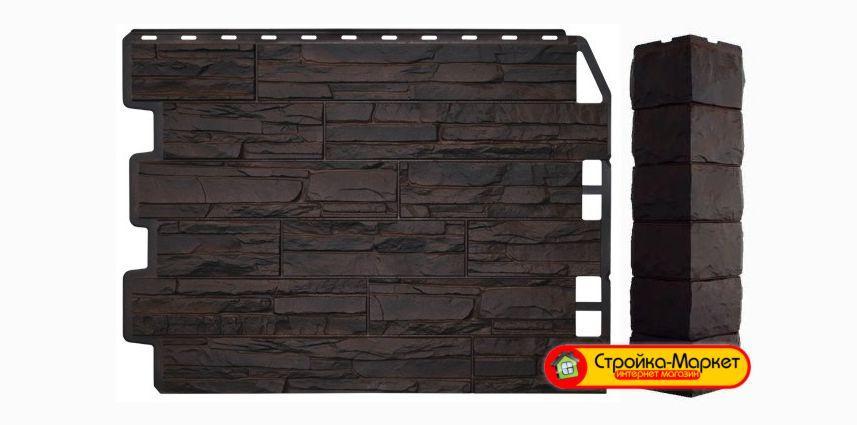 Фасадная панель Дачный Скол - 3D темно-коричневый