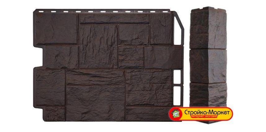Фасадные панели Дачный - Туф, 3D Темно - Коричневый