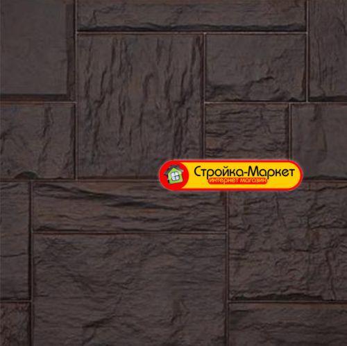 Фасадные панели Дачный — Туф, 3D Темно — Коричневый