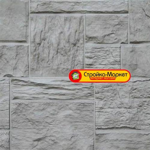 53327 Фасадные панели Дачный — Туф, 3D Светло — серый