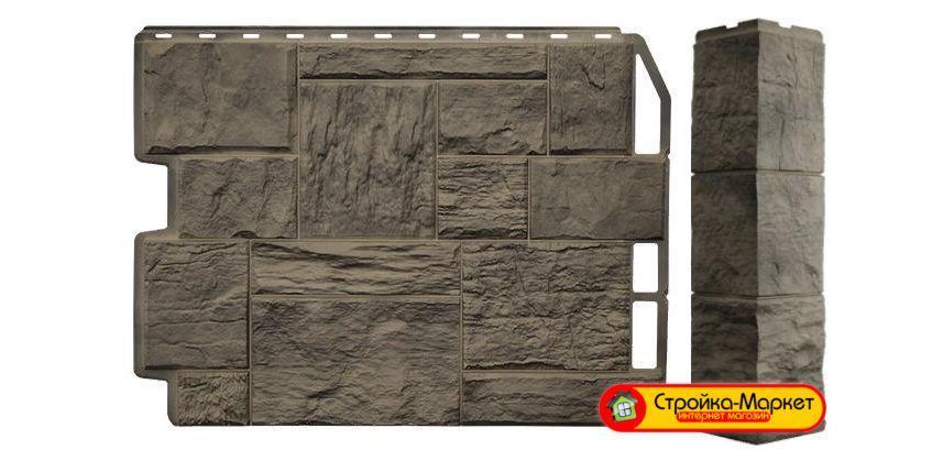 Фасадные панели Дачный - Туф, 3D Дымчатый